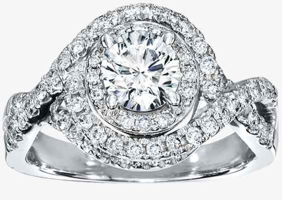 Round or square diamond with halo