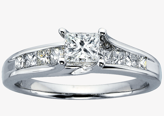 Simple prong set diamond ring